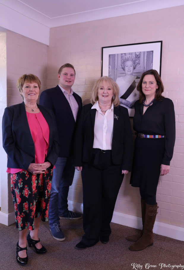 Jackie Hewitt-Main with Sue Blackburn, Andrew Sheldon and Rebecca Harris MP